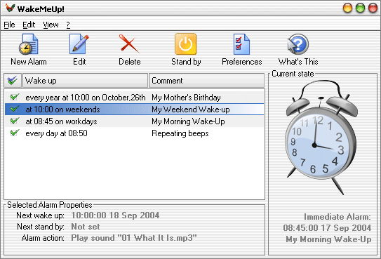 PC alarm clock that can resume your PC from standby. Supports mp3/wma and skins.